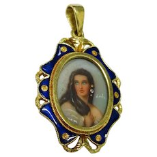 Diamond 18K Yellow Gold Lady Portrait Enamel Pendant Fine Lovely