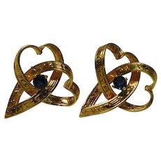 18K Yellow Gold Sapphire Heart Earrings Embossed Fine