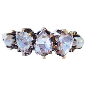 Antique Diamond Seed Pearl 8K Yellow Gold Five Stone Ring Fine Rose Cut Elegant