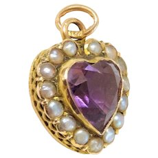 Amethyst Pearl Gold Heart Pendant Fine Antique Beautiful