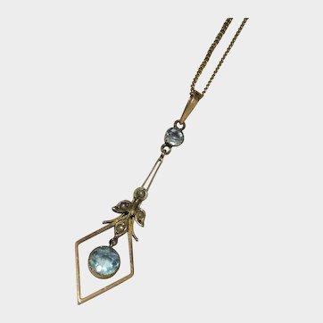 Aquamarine Seed Pearl 9K Gold Lavalier Necklace Lovely Edwardian Fine
