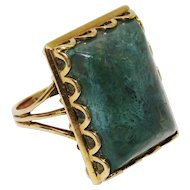 Handsome Moss Agate 9K Yellow Gold Ring Fine Vintage