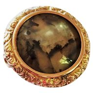 Victorian Agate 9K Yellow Gold Pin Embossed Decoration Fine