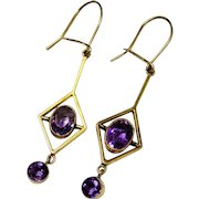 Amethyst 9K Yellow Gold Dangle Earrings Edwardian Fine Antique