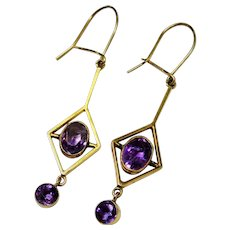 Amethyst 9K Yellow Gold Dangle Earrings Edwardian Fine Antique - Red Tag Sale Item