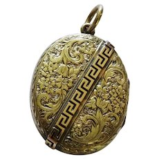 Victorian Double Locket Chased Greek Key 9K Yellow Gold Fine