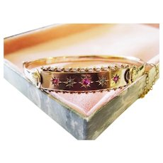 Antique Diamond Ruby 9K Rose Gold Bangle Bracelet Ornate Fine