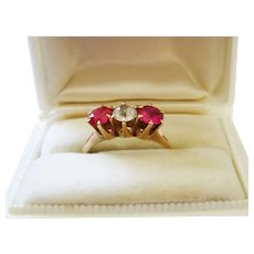 Edwardian Ruby Diamond Paste 10K Rose Gold Ring Trilogy Gorgeous