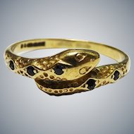 Awesome Snake Ring Sapphire 9K Yellow Gold Fine Vintage