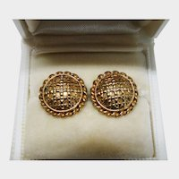 Classic Solid 9K Yellow Gold Large Button Stud Earrings Fine Vintage Lovely