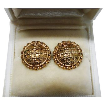 Classic Solid 9K Yellow Gold Large Button Stud Earrings Fine Vintage
