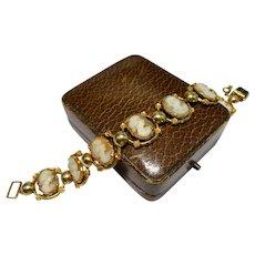 Art Deco Carved Cameo 12K Gold Filled Link Bracelet Ornate Fine