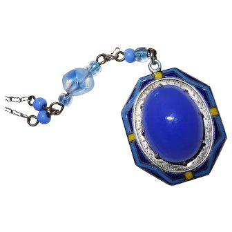 Art Deco Chalcedony Enamel Sterling Silver Pendant Necklace Stunning