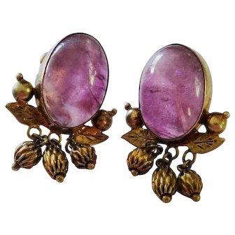 Art Nouveau Pink Amethyst Cabochon Sterling Silver Vermeil Earrings Aesthetic
