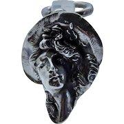 Rare Art Nouveau Antique Sterling Silver Lady 3-D Pendant Repousse