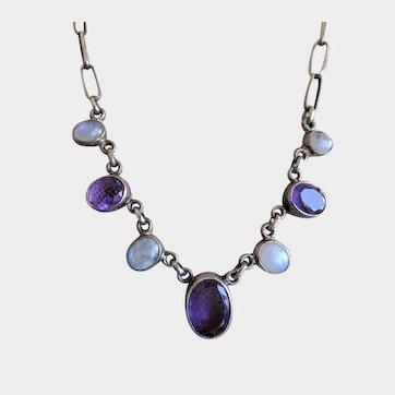 Amethyst Moonstone Sterling Silver Bib Necklace Fine Vintage