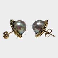14K YG Blue Gray Cultured Pearl Stud Earrings Fine Vintage Lovely
