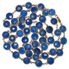 """Blue Sapphire Bezel Sterling Vermeil Necklace 36"""" Fine Gorgeous"""