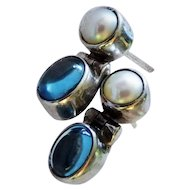 Blue Topaz Cabochon Cultured Pearl Sterling Silver Earrings Hinged Door Knocker