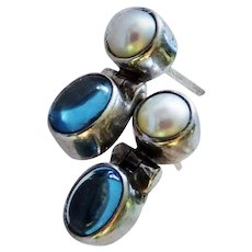 Blue Topaz Cabochon Cultured Pearl Sterling Silver Earrings Hinged Door Knocker