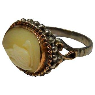 Cameo Swan 9K Rose Gold Sterling Silver Ring Handsome OOAK