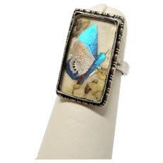 Butterfly Wing Silver Ring Aesthetic Early 1900's Rare
