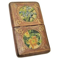 Embroidered Leather Card Case Antique Rare