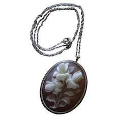 Cameo Flowers Sterling Silver Pendant Pin Chain Necklace Vintage Italian