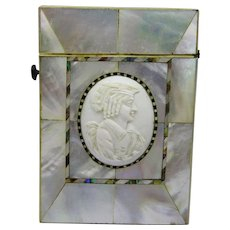 Antique Mother of Pearl Abalone Bone Cameo Calling Card Case Fine Rare