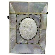 Antique Mother of Pearl Abalone Bone Cameo Calling Card Case Fine Rare