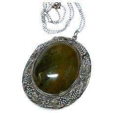Chinese Agate Sterling Silver Filigree Ornate Large Pendant with Chain Necklace Awesome Vintage