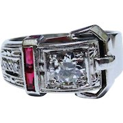 Old European Cut Diamond Ruby 14K White Gold Buckle Ring Fine Retro