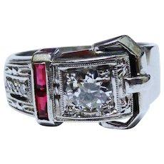 Old European Cut Diamond Ruby 14K White Gold Buckle Ring Fine Retro