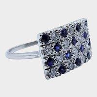 Diamond Sapphire Platinum Ring Checkerboard Fine Retro Gorgeous