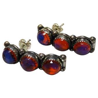 Vintage Dragon's Breath Art Glass Sterling Silver Earrings Fabulous