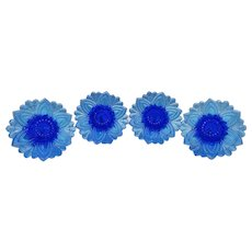 Early American Pattern Glass Electric Blue Furniture Knobs Set of Four Rare