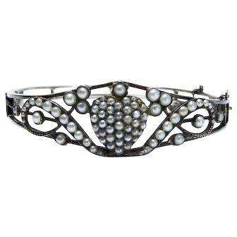 Edwardian Sterling Silver Seed Pearl Heart Pave Bangle Bracelet Fine Rare