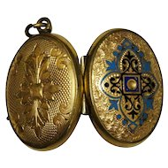 Victorian Enamel Yellow Gold Filled Double Locket Chased Ornate Fine