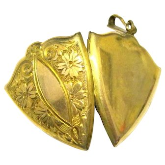 1920's Ornate Gold Filled Locket Shield Chased