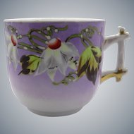 Attractive Mustache Cup Hand Painted Porcelain Early 1900's