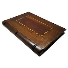 Antique Wood Calling Card Case Inlay Handsome