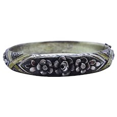 Art Deco Repousse Silver Floral Bangle Fine Italy Ornate High Relief