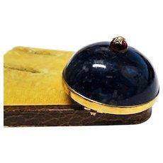 Lapis Lazuli Garnet Pearl 9K Gold Brooch Fine Victorian
