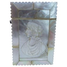 Antique Mother of Pearl Card Case Cameo Chased Fine Rare Victorian