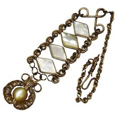 Antique Mother of Pearl Watch Fob Tiered Chain Awesome