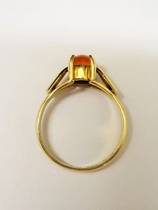Mexican Fire Opal 14k Gold Ring Fine Solitaire Vintage