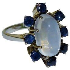 Moonstone Blue Sapphire Sterling Silver Cluster Ring Fine Retro Fabulous