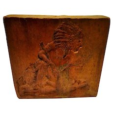 Outstanding Native American Carved Wood Block Miniature Vintage