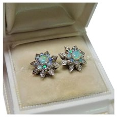 Diamond Opal 14K White Gold Snowflake Earrings Fine Vintage Exquisite