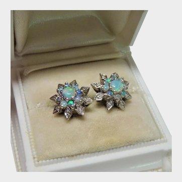 Diamond Opal 14K White Gold Snowflake Earrings Fine Vintage Exquisite